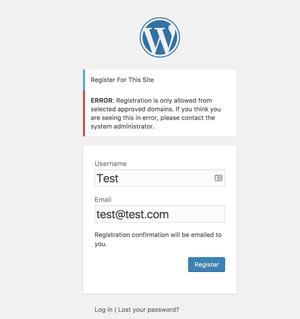 WordPress Registration from Certain Domains Only